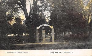 Belmond Iowa~Sunny Side Park~Arch Entrance Gate~Stone Pillars~1910 Postcard