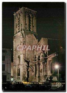 Modern Postcard La Rochelle church Saint Sauveur night