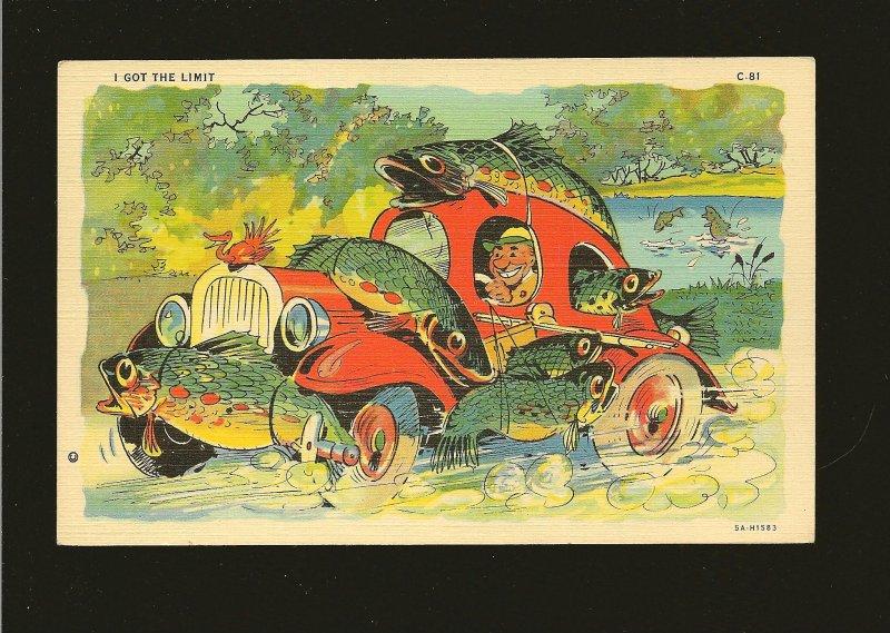 USA CT Fish Comics I Got The Limit Color Linen Postcard