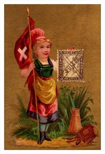 Suisse  Stamp, Flag, Girl   Victorian Philatelic Trade Card