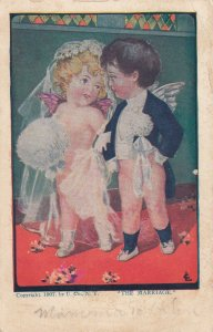 THE MARRIAGE, 1900-10s; Cherub couple walking down the aisle