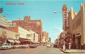 Amarillo Texas Autos 1950s Paramount Movie Theater Marquee Street Baxter 5693