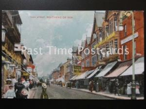 Essex SOUTHEND ON SEA High Street shows WAXWORK EXHIBITION & HOTEL Old Postcard