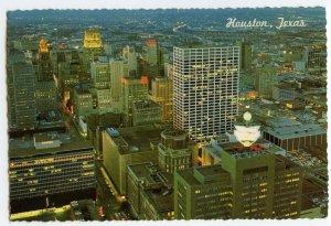 Postcard Houston Texas Skyline Lights Downtown Continental Aerial View Card