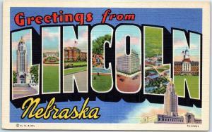 GRAND ISLAND Nebraska Large Letter Postcard State Capitol Curteich Linen c1940s