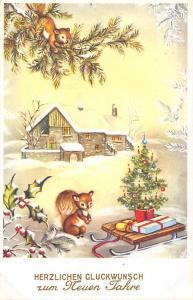 Christmas: Herzlichen Gluckwunsch zum Neuen Jahre, sledge, squirrel, tree, gifts