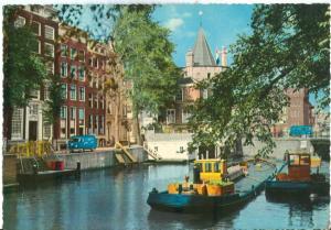 Netherlands, Old Amsterdam, Geldersekade with Schreierstoren, 1960s Postcard