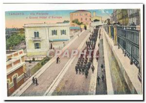 Italy Italia Taranto Old Postcard Via e Peripato Grand Hotel d & # 39Europe