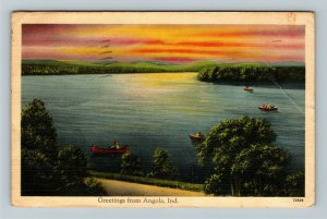Angola IN-Indiana, Scenic Greetings, Lake, Sunset, Canoes, Linen c1942 Postcard