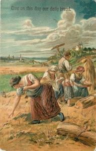 PFB~Lords Prayer~Give Us~Daily Bread~Folks Labor In Wheat Field~Emboss~#7066