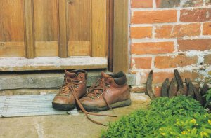 Saxlingham Holt Leather Shoes On Doorstep Rare Norfolk Postcard