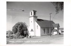 Augusta Wisconsin~Grace Lutheran Church~Little House~Bridge Behind~1950s RPPC