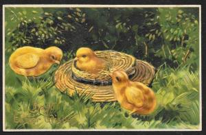 Best Easter Wishes Chicks & Straw Hat Used c1910s