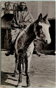 Vintage CHILE Postcard Indian / Native Man on Horse / Street View c1910s Unused