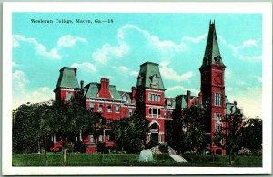 Macon, Georgia Postcard Wesleyan College Main Building View KROPP 1930s Unused