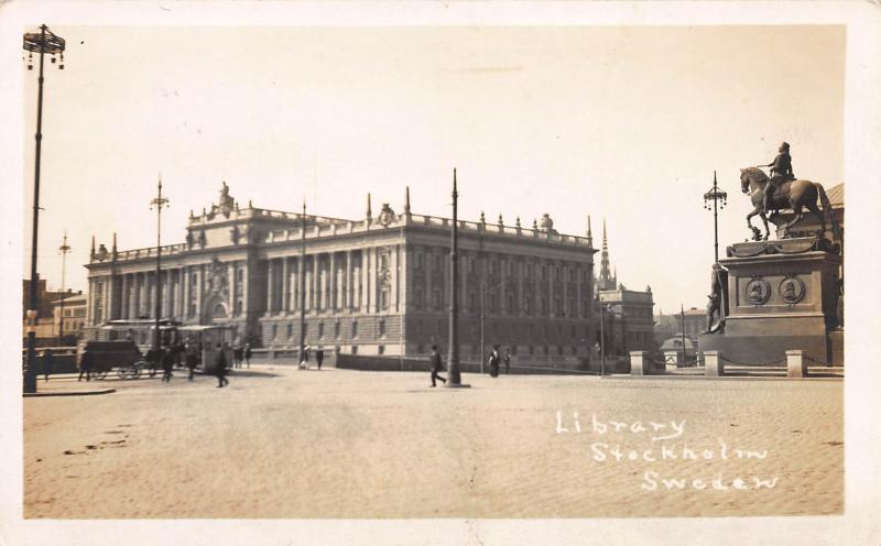Library, Stockholm, Sweden, Early Real Photo Postcard, Unused