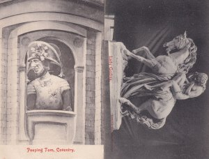 Peeping Tom Lady Godiva Coventry 2x Old Postcard s