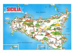 Map Postcard, Sicily, Sicilia, Palermo, Italy 35S
