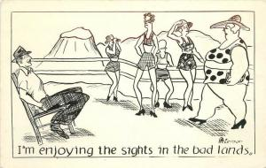 Artist Impression Badlands South Dakota Peterson 1930s Humor RPPC Peterson 217