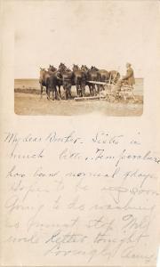 Farmer on Cart Plow Drawn by Six Horse Team~Minnesota? Canada~1908 RPPC