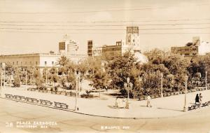 Monterrey Mexico~Hotel~Benches At Corner of Plaza Zaragoza~RPPC 1940s Postcard