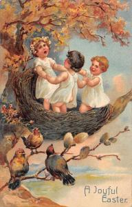 Easter Greetings Fantasy Children Dancing in Birds Nest Postcard JD933442