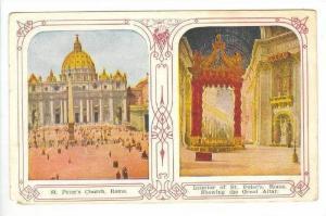SPLITVIEW: Exterior of St. Peters & Great Altar,Vatican City 1900-10s
