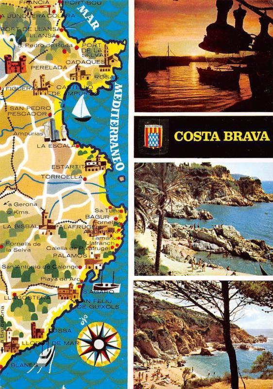 Costa Brava Map Of Spain.Spain Costa Brava Map Multiviews Sunset Beach Playa Hippostcard