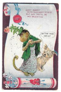 Artist Signed Valentine Postcard R F Outcault Dressed Monkey