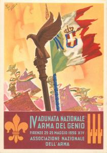 RETROSI signed IV ADUNATA NAZIONALE ARMA del GENIO FIRENZE 1936 Florence Italy