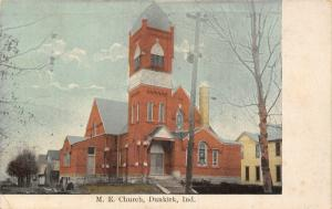 Dunkirk Indiana~Methodist Episcopal ME Church~Homes Down Street~1908 Postcard
