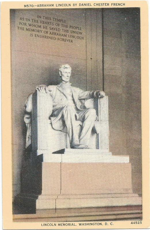 Lincoln Memorial Washington DC BS Reynolds Metrocraft Postcard