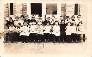 Traer Iowa~School Children on Steps~Second Grade Students~Class 1912-1913 RPPC