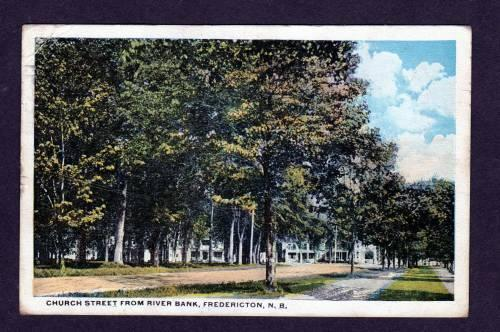 NB Church St FREDERICTON NEW BRUNSWICK Old Postcard