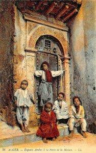 ALGER ALGERIA AFRICA~ENFANTS ARABES a la PORTE de la MAISON~LL PHOTO POSTCARD