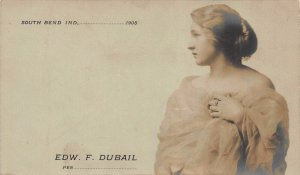 Real Photo Postcard Edw. F. Dubai Calling Card in South Bend, Indiana~123754