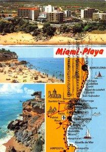 Spain Costa Dorada Tarragona Miami Playa Beach Map Castle Tower Postcard