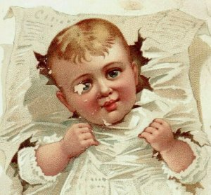 1870's-80's  H. Leh & Co. Novelties & Fine Shoes Adorable Baby In White P172