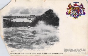 River Rapids Single Arch Double Track Steel Bridge Over Niagara River Postcard