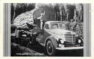 Washington License Plate #38 117~Truck Logging in Northwest~Lumberjack~1940s B&W