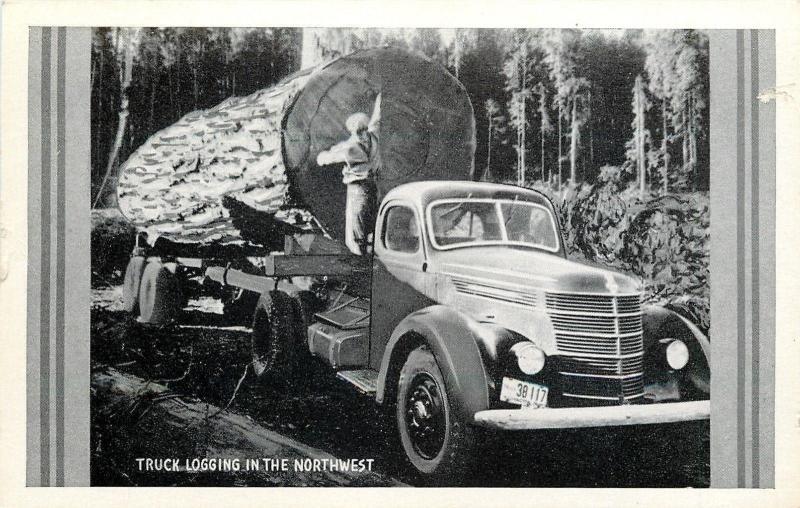 Washington License Plate #38 117~Truck Logging in Northwest~Lumberjack~1940s B&W