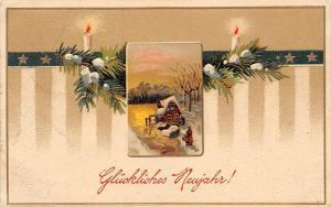 Embossed, Glueckliches Neujahr! Mistletoes Candle Stars, New Year 1912