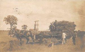 G98/ Clinton Ontario Canada RPPC Postcard c1910 Farming Horse-Drawn Dog 3