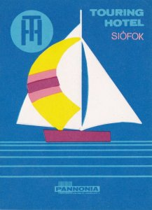 Hungary Siofok Touring Hotel Vintage Luggage Label sk3668