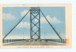 1930's OLD CARS UNDER AMBASSADOR BRIDGE SIGN Windsor Ontario ON d5183