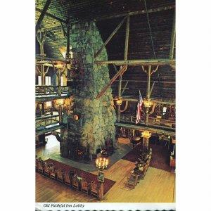 Yellowstone Park Co. Postcard 'Old Faithful Inn Lobby'