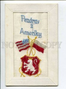 415886 POLAND Greetings from USA FLAGS Vintage embroidery on silk postcard