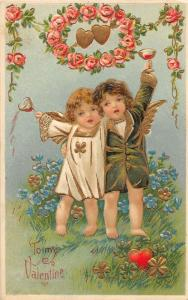 F12/ Valentine's Day Love Holiday Postcard c1910 Gold-Lined Fancy Kids 11