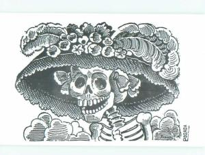 Pre-1980 Halloween Interest signed SKELETON WEARING A HAT AC0228