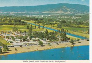 Skaha Beach and Okanagan Canal with the city of Penticton in the background, ...